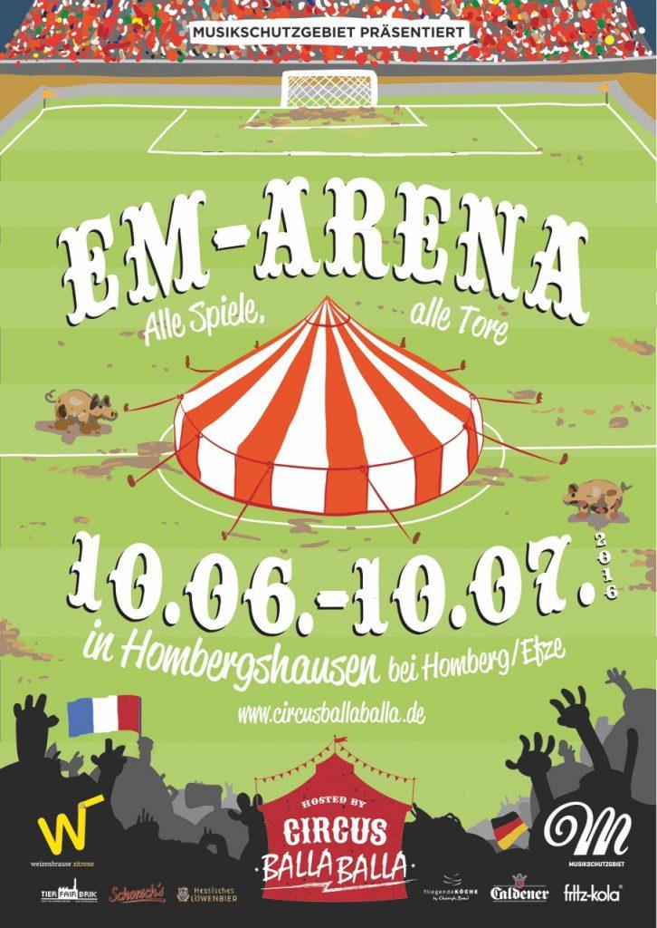 Plakat EM-Arena im Circus BallaBalla